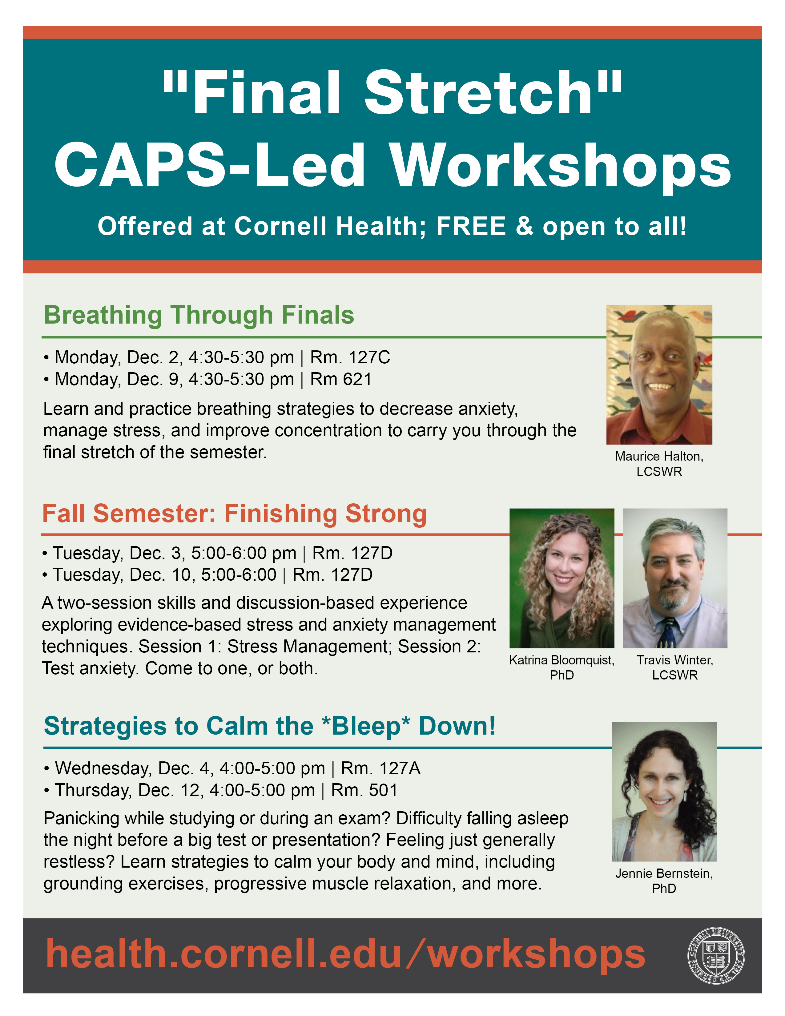 Final stretch workshops flyer