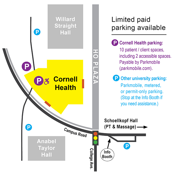 Map showing building entrances and parking