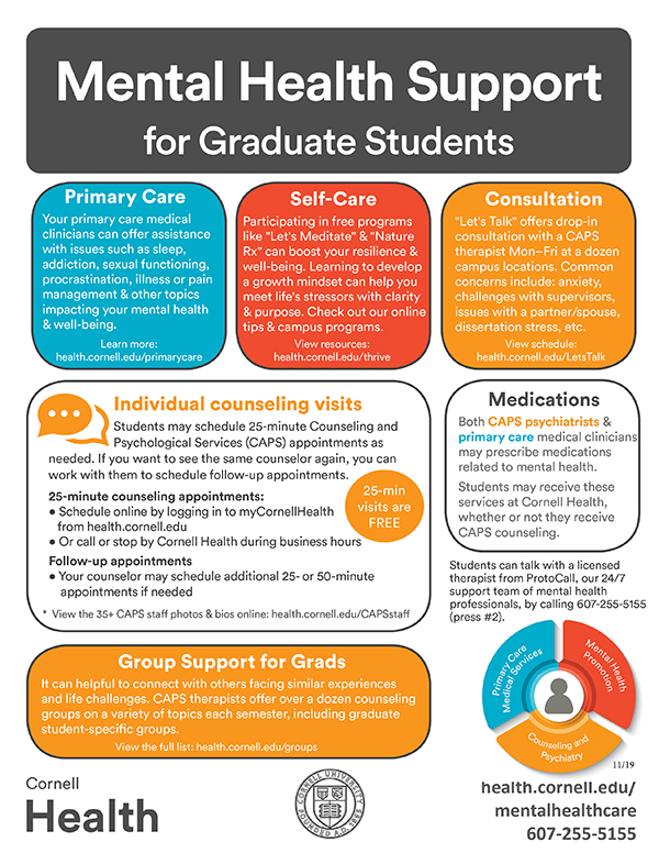 Mental health support for graduate student flyer
