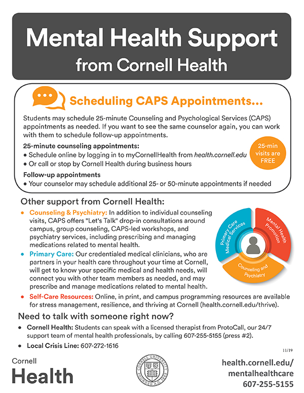 Mental health support from Cornell Health flyer