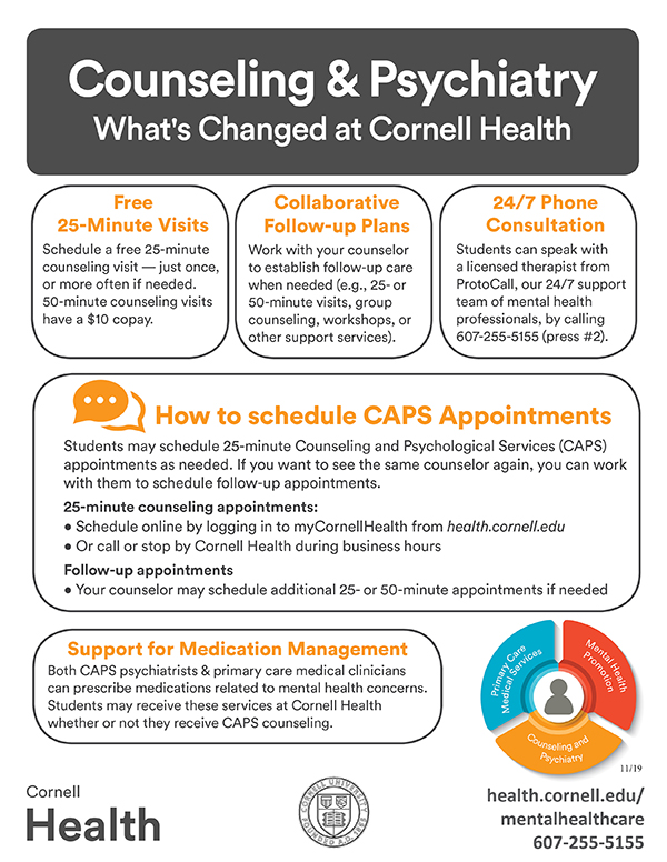 What's changed at Cornell Health flyer