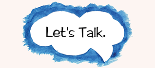 """Let's Talk"" in a speech bubble"