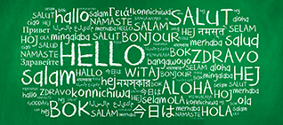 Welcome message in different languages